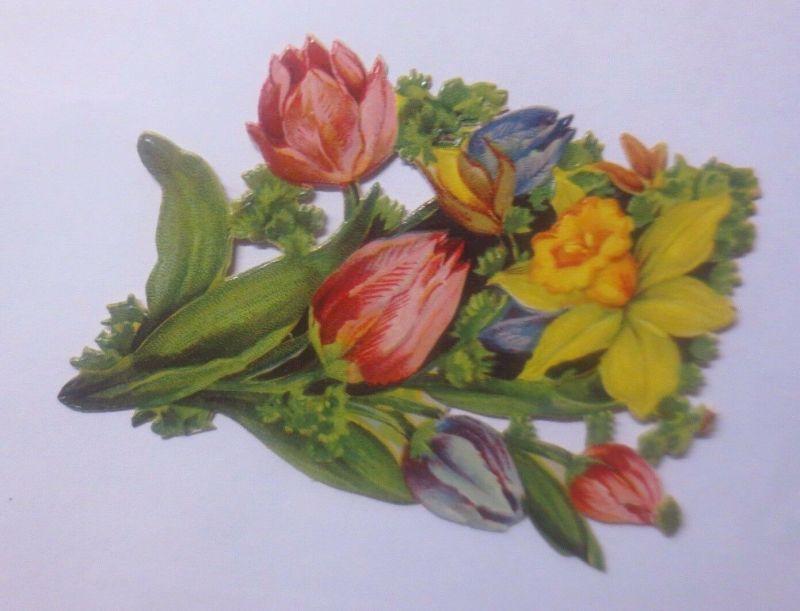 Oblaten, Blumen, Tulpen, Osterglocke,   9 cm x 7 cm   1930  ♥  (62208)