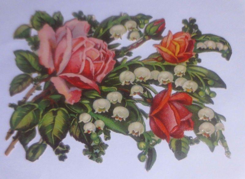 Oblaten, Blumen, Rosen, Maiglöckchen,   11 cm x 8 cm   1930  ♥  (62206)