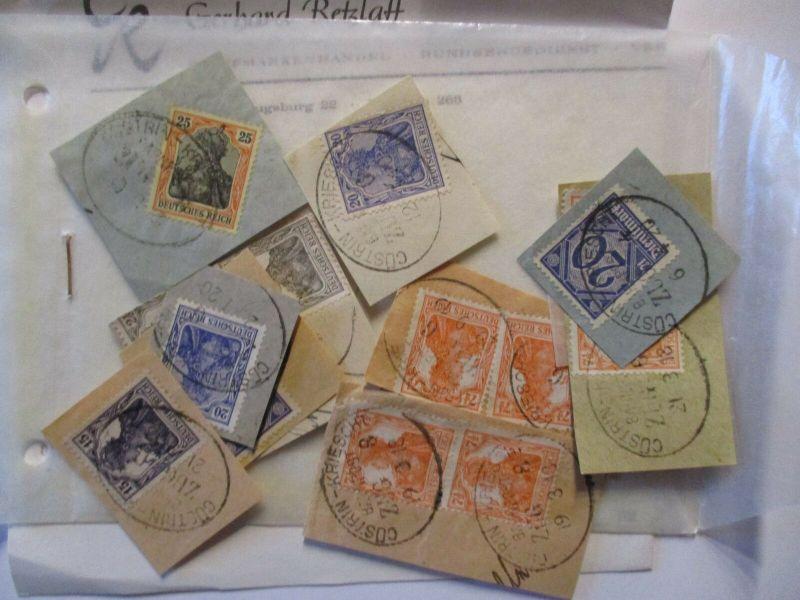 Bahnpost Cüstrin Kriescht, 10 Briefstücke auf alter Loskarte (57319)