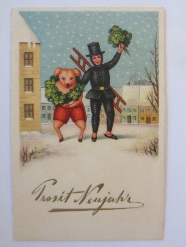 Neujahr, Schwein, Schornsteinfeger, Kleeblatt,    1928 ♥ (65275)