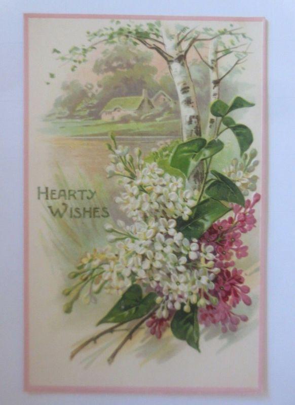 Geburtstag, Landschaft, Flieder,  1900, Prägekarte  ♥ (80031)