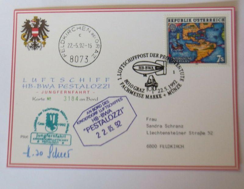Zeppelin Kinderdorf Luftschiff HB-BWA Jungfernfahrt Pestalozzi 1992 ♥ (56879)