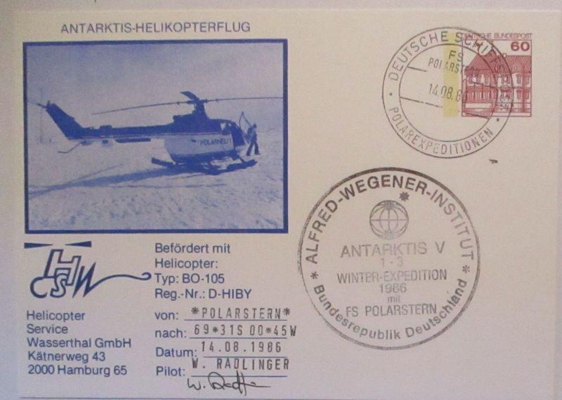 Antarktis Helikopterflug Polarexpedition Schiffspost 1986 Wegener Inst. (42254)