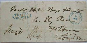 Belgien, Vorphila Brüssel Franco Ostende 1844 nach London (66216)