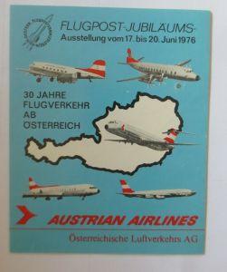 Aufkleber Flugpost-Jubiläums-Ausstellung Austrian Airlines  1976 ♥ (24698)