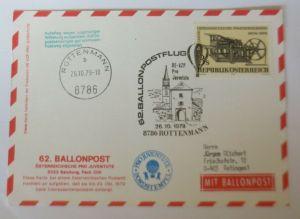 Österreich  62. Ballonpostflug  1979 Pro Juventute Salzburg  ♥ (13846)
