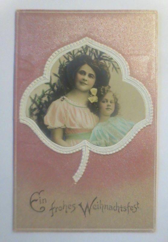 Weihnachten, Frauen, Kinder, Mode, Blatt,    1907, Prägekarte  ♥  (50361)