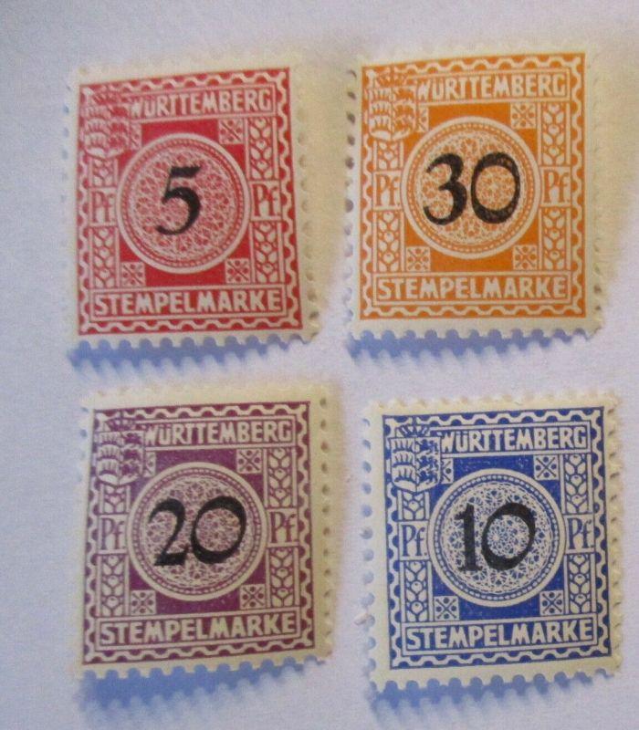 Württemberg, 4 postfrische Stempelmarken (71328)