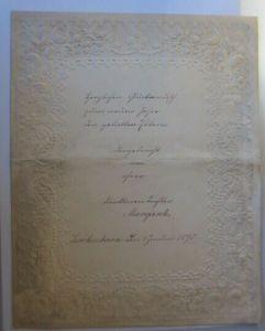 Neujahrsglückwunsch auf Briefbogen mit üppiger Prägedruckverzierung 1890 ♥ (E19)