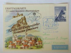 Österreich Ersttagskarte 75 Jahre Sonnblick-Observatorium SOS-Kinderdorf♥(69442)