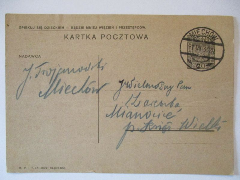 Polen Ganzsache 1933 aus Miechow (52726)