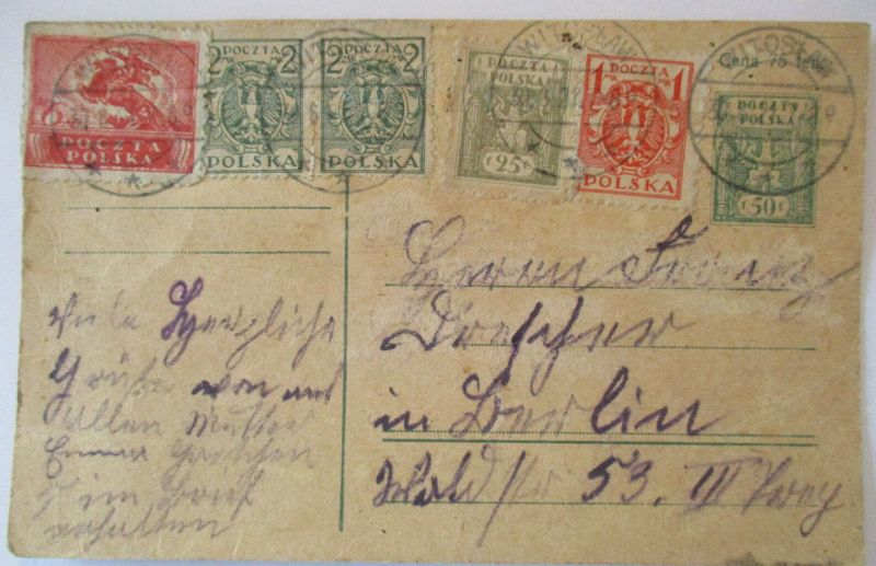 Polen Ganzsache 1921 aus Witoslaw (17395)