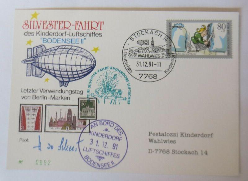 Zeppelin Silvester-Fahrt Kinderdorf-Luftschiffes Bodensee II 1991 ♥ (57877)