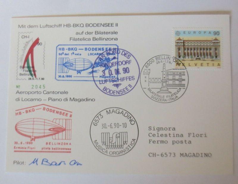 Zeppelin mit dem Luftschiff HB-BKQ Bodensee Schweiz-Italien 1990 ♥  (46558)