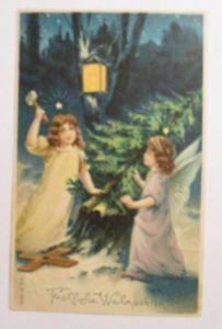 Weihnachten, Engel, Christkind, Laterne, Tanne 1905, Prägekarte ♥ (39627)