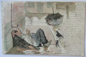 Scherzkarte Alkohol Betrunkener Mann, Nice warm and comfortable 1899 (25472)