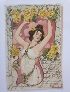 Jugendstil, Frauen, Mode, Rosen,    1901, Glitzer  ♥ (47769)