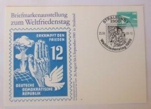 DDR Privatganzsache Briefmarkenausstellung z. Weltfriedenstag  SST 1989 ♥(72607)
