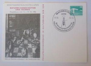 DDR Privatganzsache Ausstellung Naturwissenschaften u.Technik  SST 1986 ♥(72598)