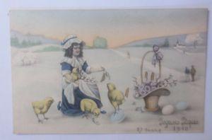 Ostern, Kinder, Mode, Küken, Korb, Blumen, Eier,    1910, Vienne Munk  ♥ (62716)