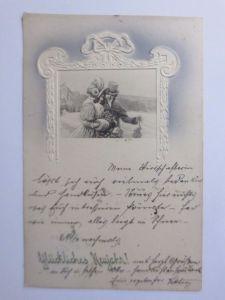 Neujahr, Männer, Frauen, Mode, Muff, Misteln   1909, Vienne Munk ♥  (58364)