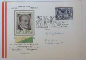 Österreich  FDC Christkindl  Sonderstempel Heilige Drei Könige 1971 ♥ (72632)