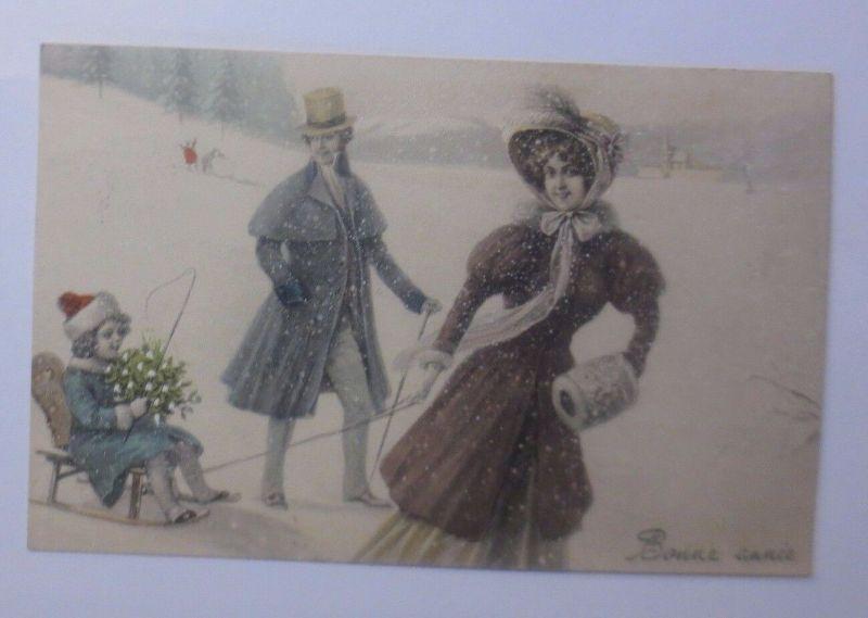 Neujahr, Männer, Frauen, Kinder, Mode, Schlitten, 1912, Munk Vienne  ♥  (62785)