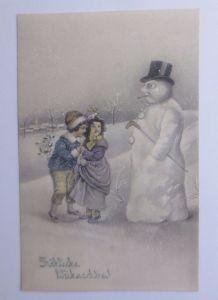 Neujahr, Kinder, Mode, Schneemann, Zylinder, Monokel,  1910, Munk Vienne♥(62779)
