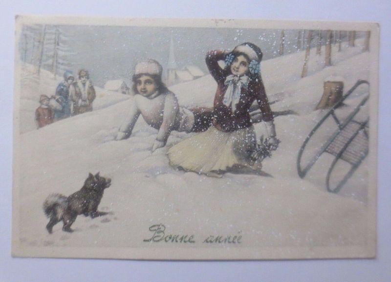 Neujahr, Kinder, Mode, Schlitten, Hund, 1913, Munk Vienne♥(62781)
