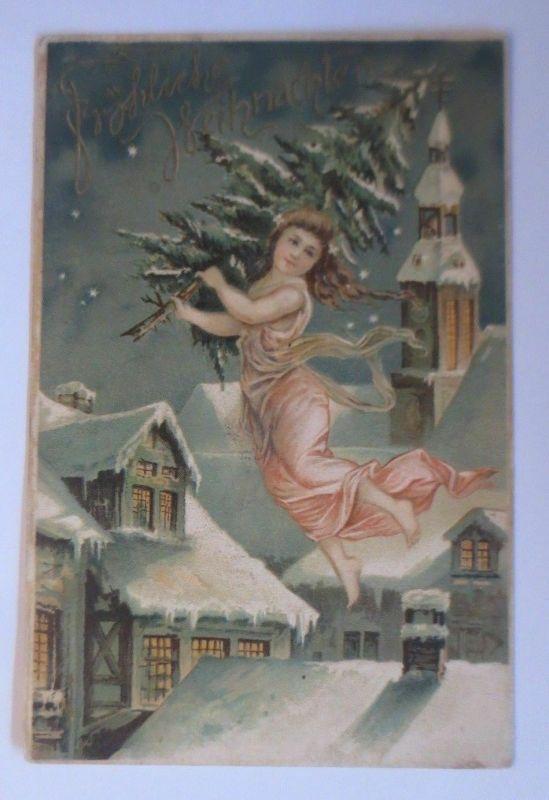 Weihnachten, Kinder, Tannenbaum, Kirche, Dorf,  1900, Prägekarte ♥ (48813)