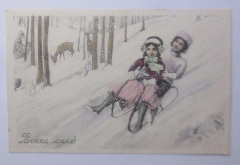 Neujahr, Kinder, Mode, Rehe, Weihnachtsmann, Wald, 1913, Munk Vienne  ♥  (62783)