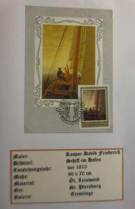Russland , Maximumkarte Kaspar David Friedrich, Schiff im Hafen, 1971 (3886)