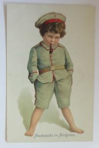 WW1  Kinder, Soldat, Frechdachs in Feldgrau, 1915 ♥  (22029)