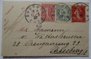 Frankreich, Ganzsache 1907 mit Zusatz nach Strassburg