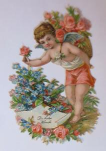 Oblaten, Engel, Rosen, Korb,  1930, 8,5 cm x 5 cm   ♥  (41249)
