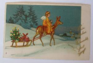 Weihnachten, Christkind, Rehe, Schlitten, Weihnachtsbaum, Geschenke,1936 ♥(7204)