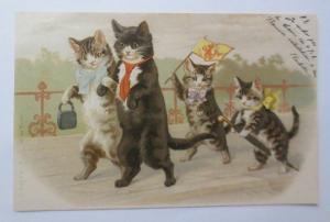 Personifiziert, Katzen, Spazieren, Fahne, Schirm,   1900  ♥