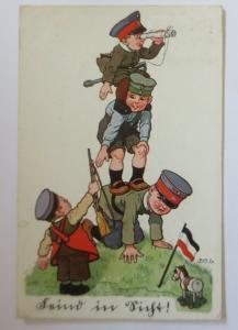 WW1  Kinder, Feind in Sicht, 1916 ♥ sig. P.O.E.  (10807)