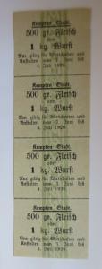 Lebensmittelkarten, Stadt Kempten  Fleisch, Wurst, Juni 1920 ♥ (X94)