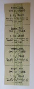 Lebensmittelkarten, Stadt Kempten  Fleisch, Wurst, Juni  1920 ♥ (X93)
