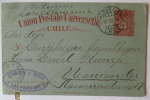 Chile Ganzsache 1885 von Valparaiso nach Neumünster (48016)