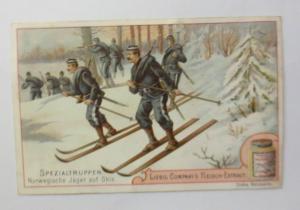 Liebig, Serie 38, Spezialtruppen, Norwegische Jäger auf Ski ♥ 46405
