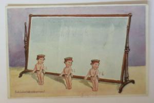 WW1 Kinder, Soldat, Spiegel, Schönheitskonkurrenz,   1916  ♥ (41167)