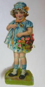 Oblaten, Kinder, Korb, Blumen,  1900,    11,5 cm x 4 cm  ♥