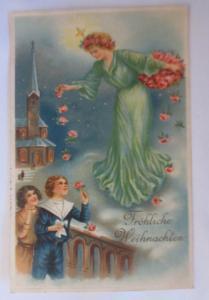 Weihnachten, Christkind, Kinder, Mode, Rosen, Kirche, 1914, Prägekarte ♥ (25290)