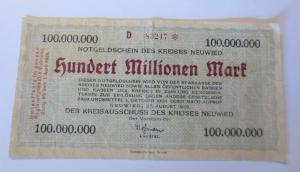 Notgeldschein des Kreises Neuwied Hundert Millionen Mark D 83247, 1923 ♥ (37606)