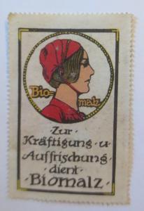 Vignetten Jugendstil Bio-Malz Zur Kräftigung u. Auffrischung 1910♥ (69041)