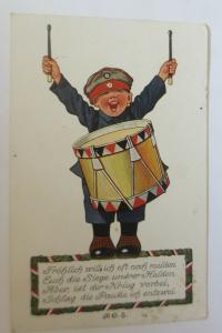 WW1 Kinder, Soldat, Trommel,  1916, sig. P.O.E. ♥ (12239)