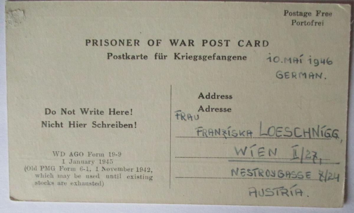 USA Italien Kriegsgefangenenpost POW Camp Naples Italy US PWE (48009) 0