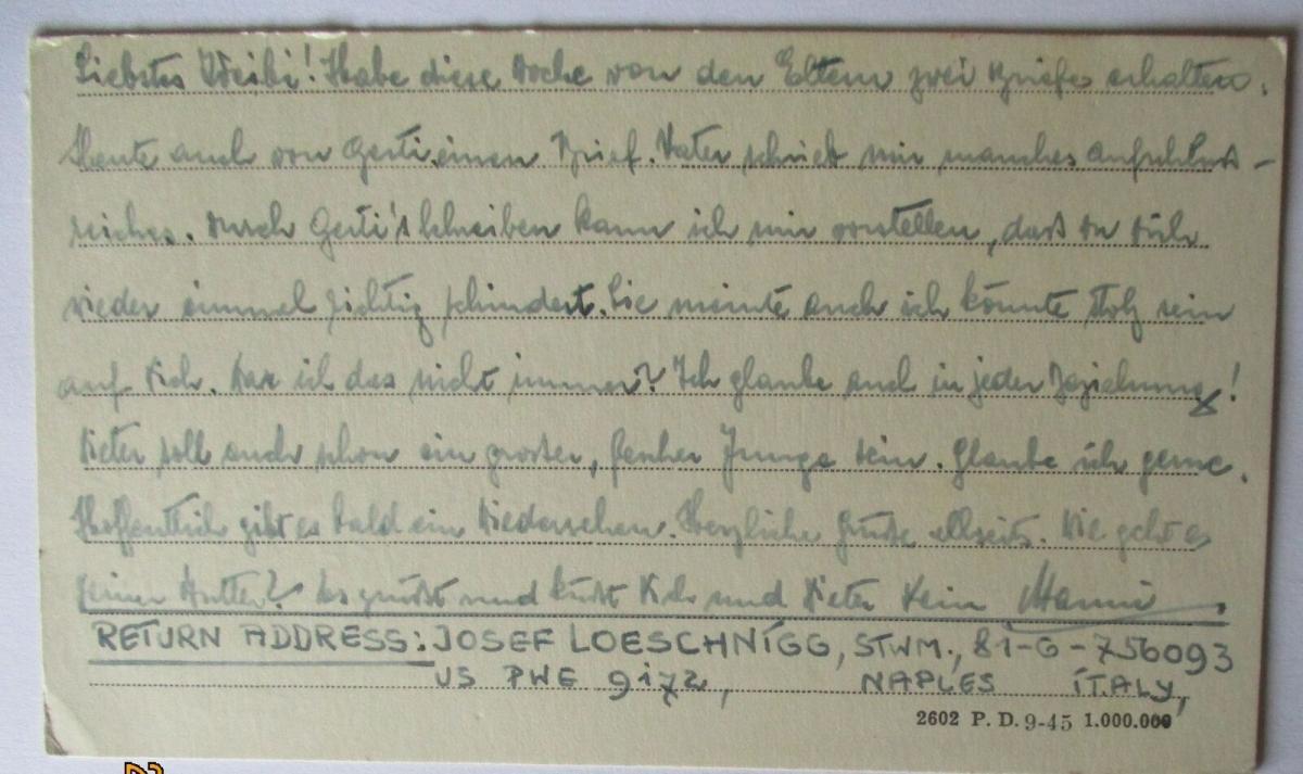USA Italien Kriegsgefangenenpost POW Camp Naples Italy US PWE (48009) 1